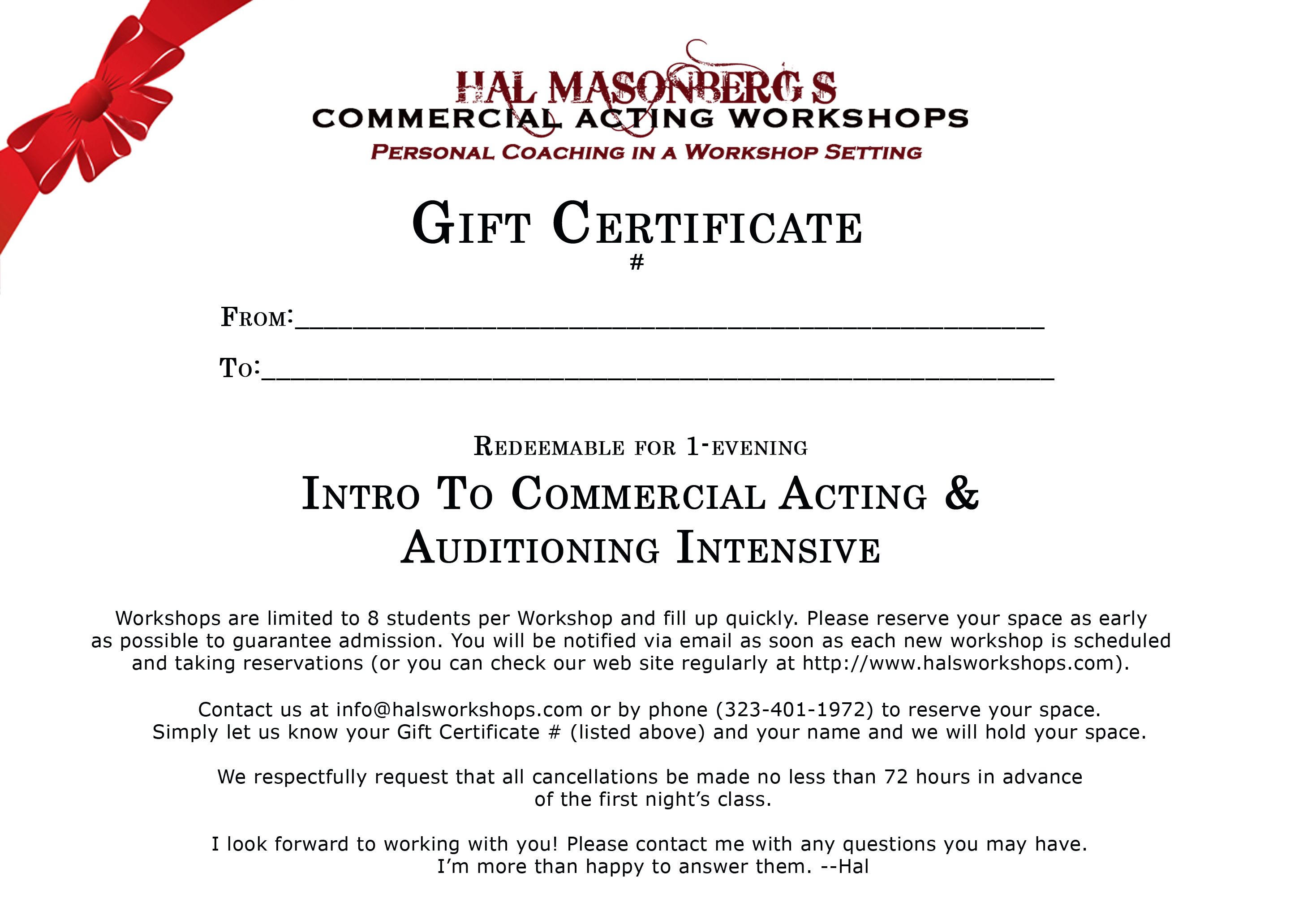 Hal masonbergs commercial acting workshops gift certificates workshopgiftcertificate2017 xflitez Choice Image