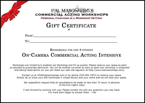 Hal masonberg 39 s commercial acting workshops gift for 13425 ventura blvd 2nd floor sherman oaks ca 91423